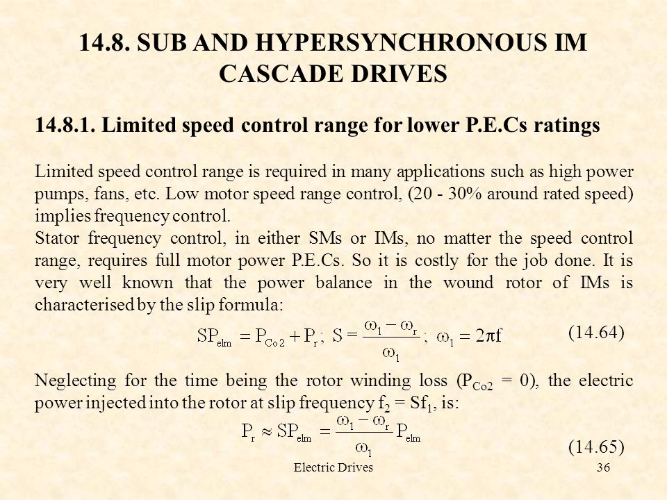 14.8. SUB AND HYPERSYNCHRONOUS IM CASCADE DRIVES