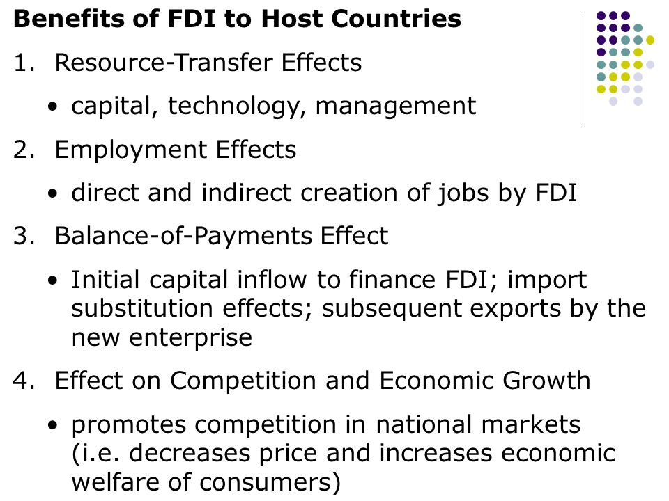 Benefits of FDI to Host Countries