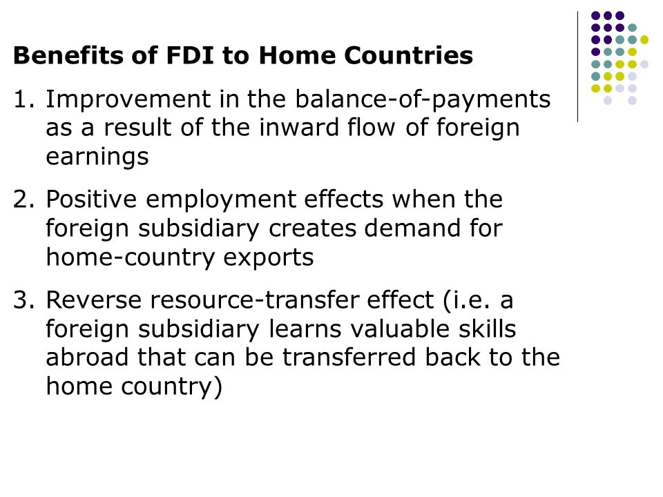 Benefits of FDI to Home Countries