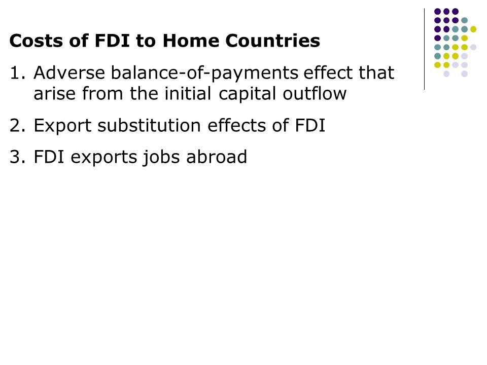 Costs of FDI to Home Countries
