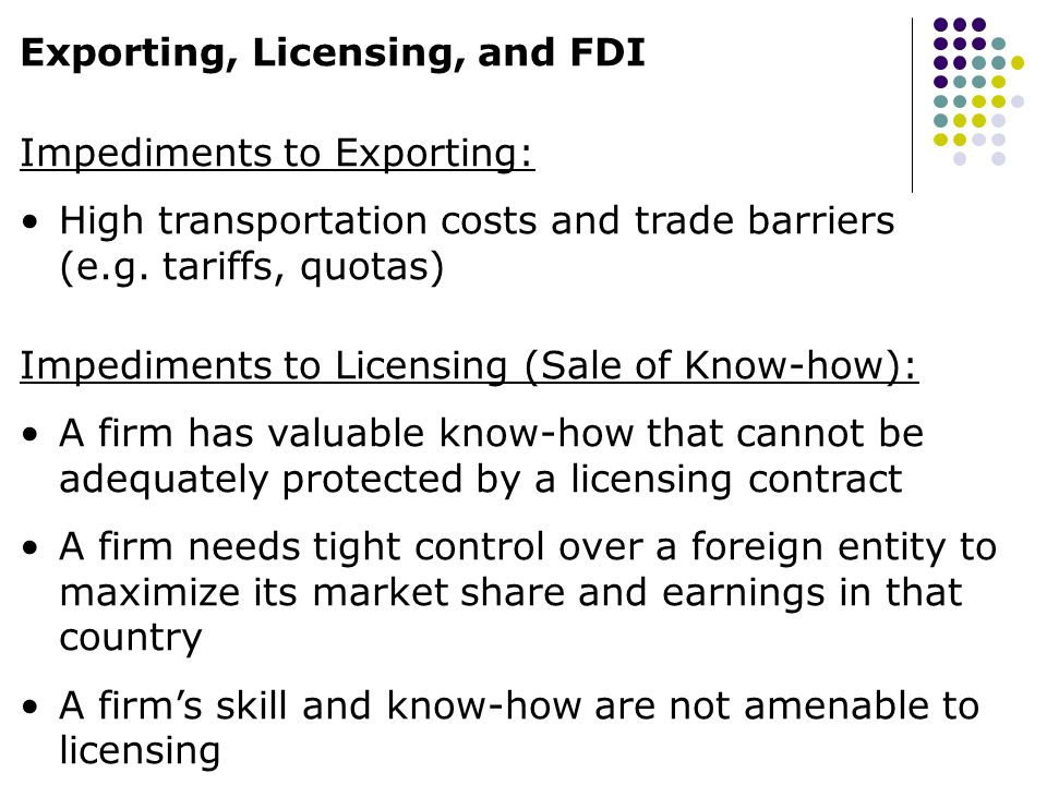 Exporting, Licensing, and FDI