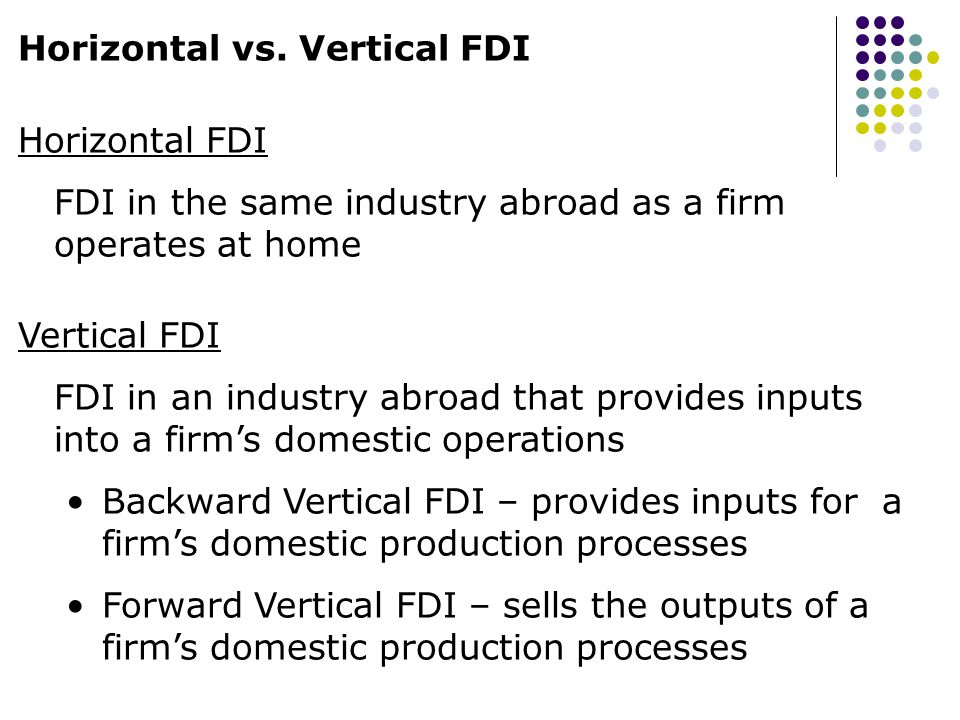 Horizontal vs. Vertical FDI