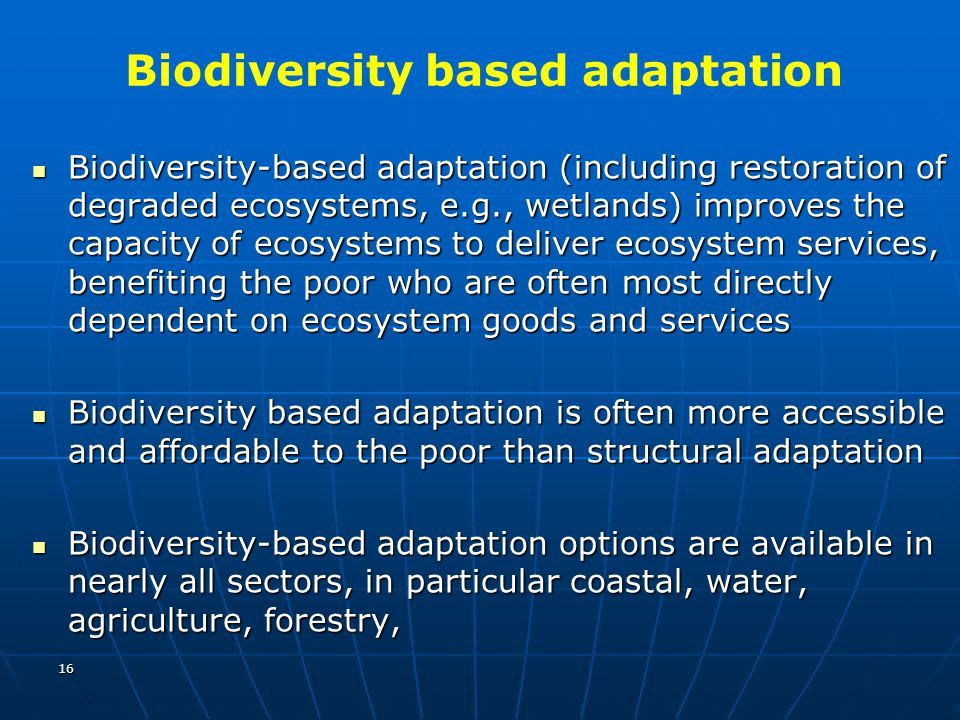Biodiversity based adaptation