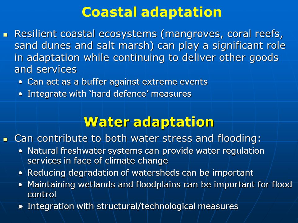 Coastal adaptation Water adaptation