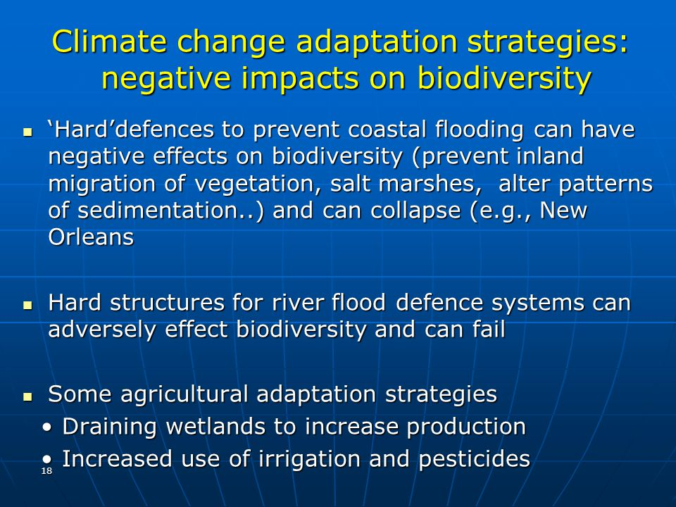 Climate change adaptation strategies: negative impacts on biodiversity