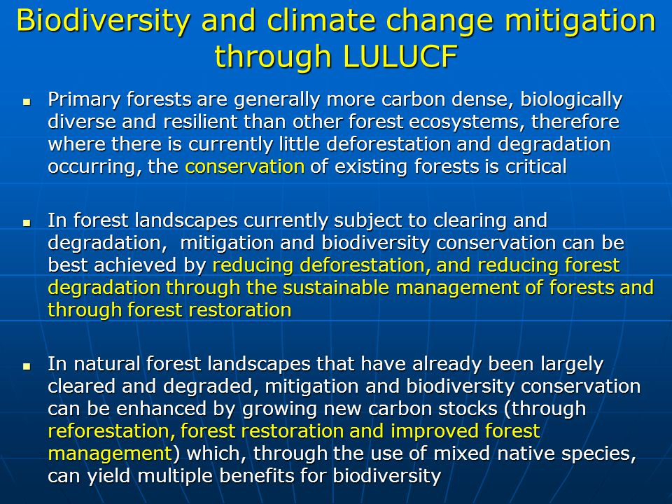 Biodiversity and climate change mitigation through LULUCF