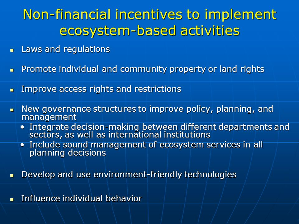 Non-financial incentives to implement ecosystem-based activities
