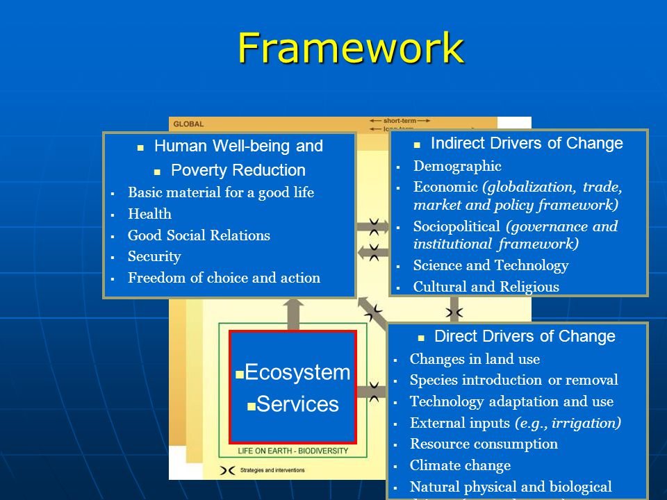 Framework Direct Drivers Indirect Ecosystem Services Human Well-being