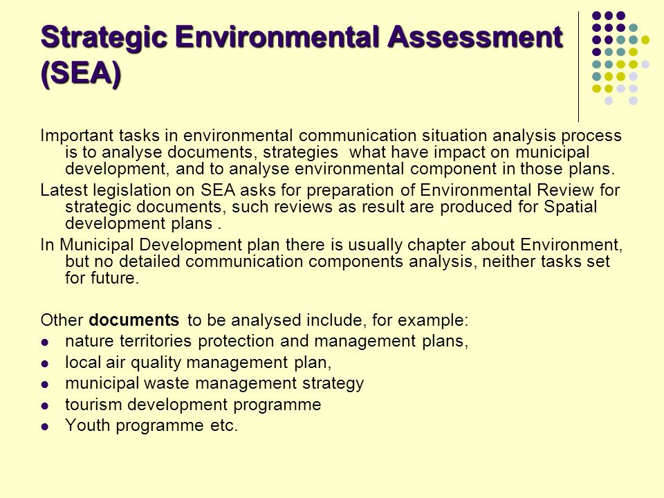 Strategic Environmental Assessment (SEA)