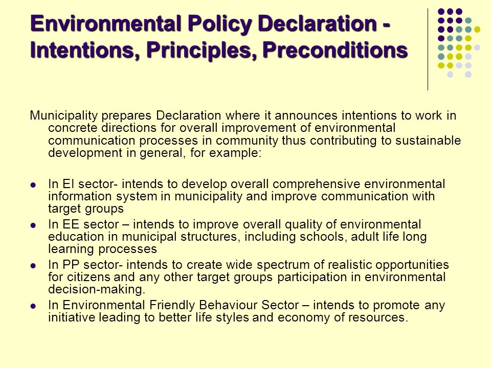 Environmental Policy Declaration - Intentions, Principles, Preconditions