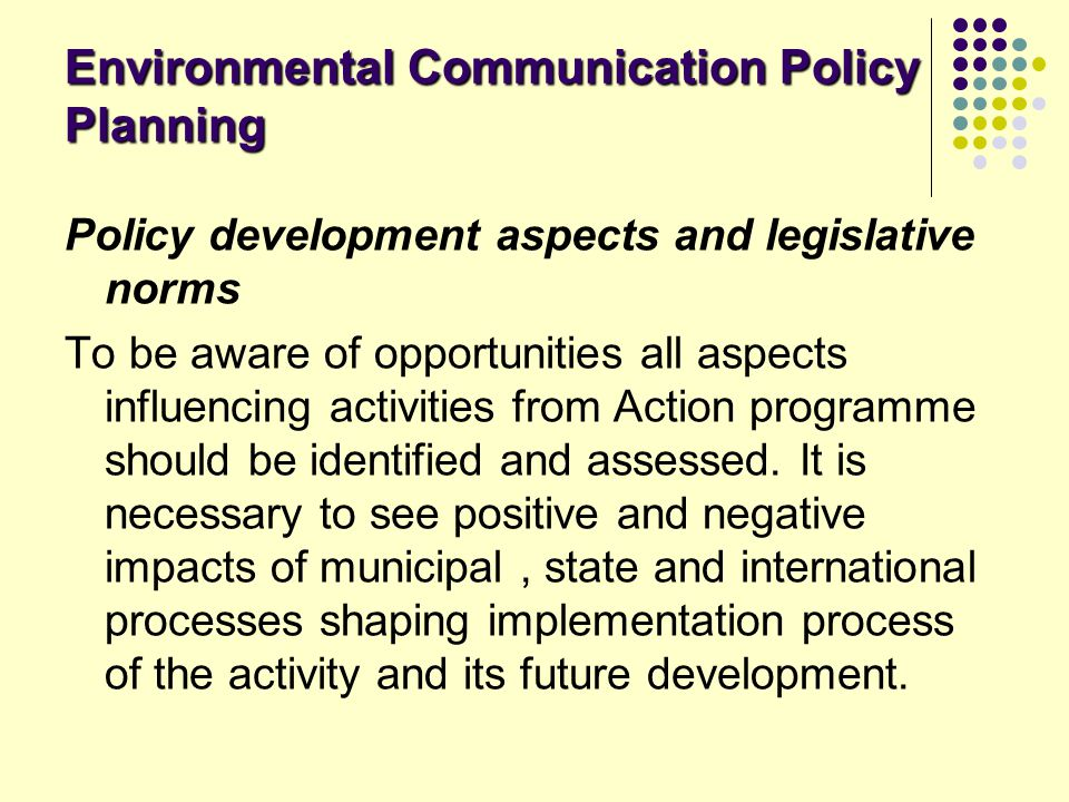 Environmental Communication Policy Planning
