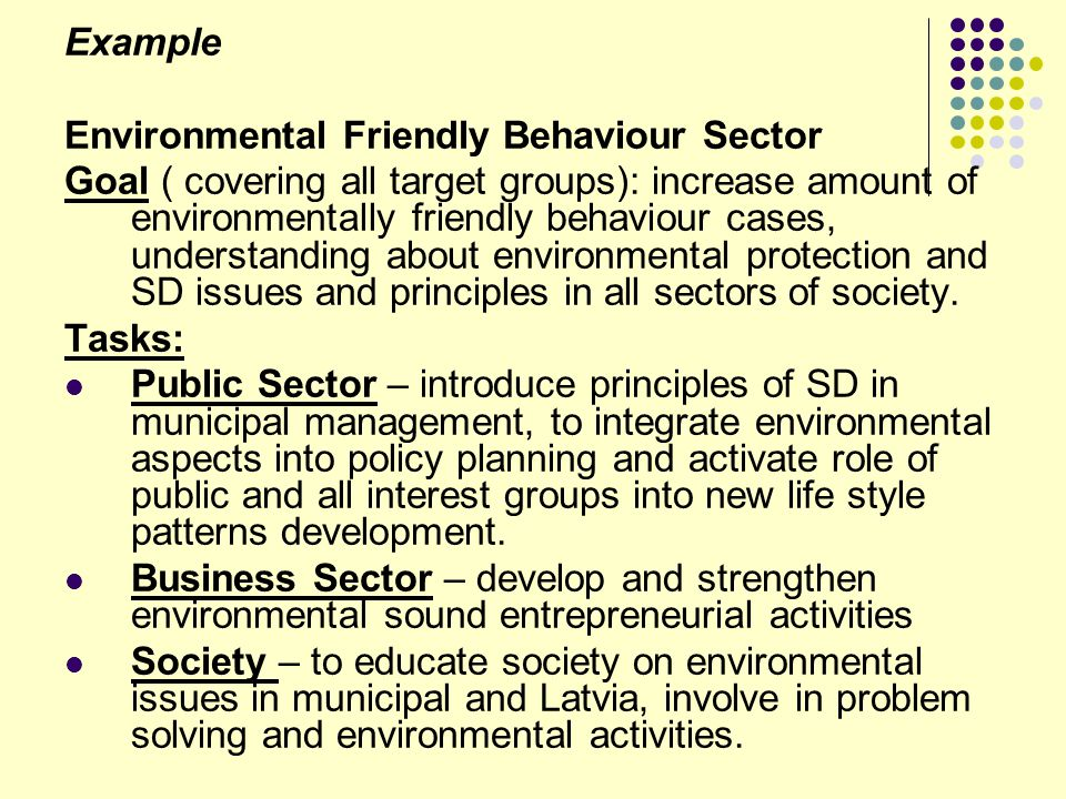 Example Environmental Friendly Behaviour Sector.