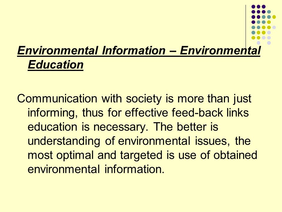 Environmental Information – Environmental Education