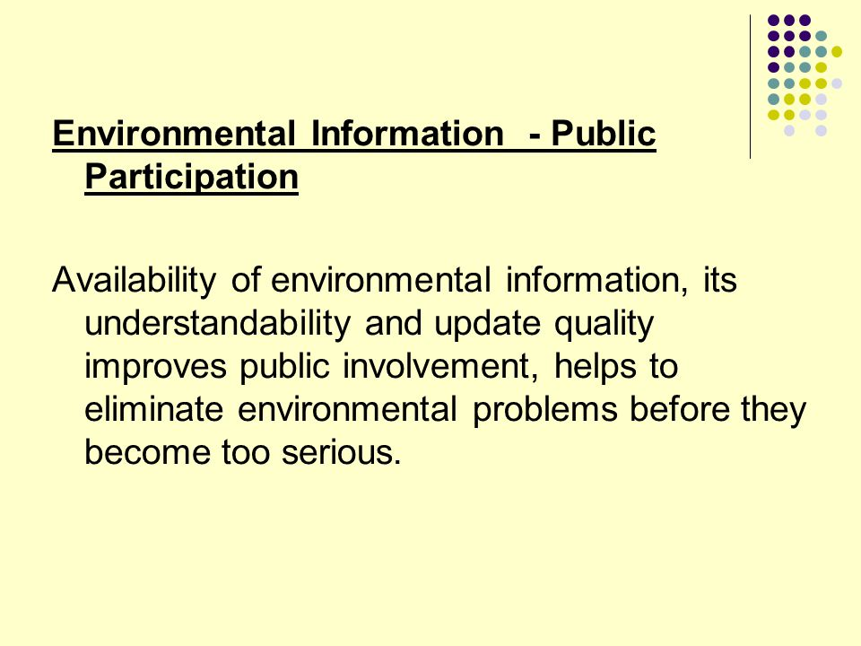 Environmental Information - Public Participation