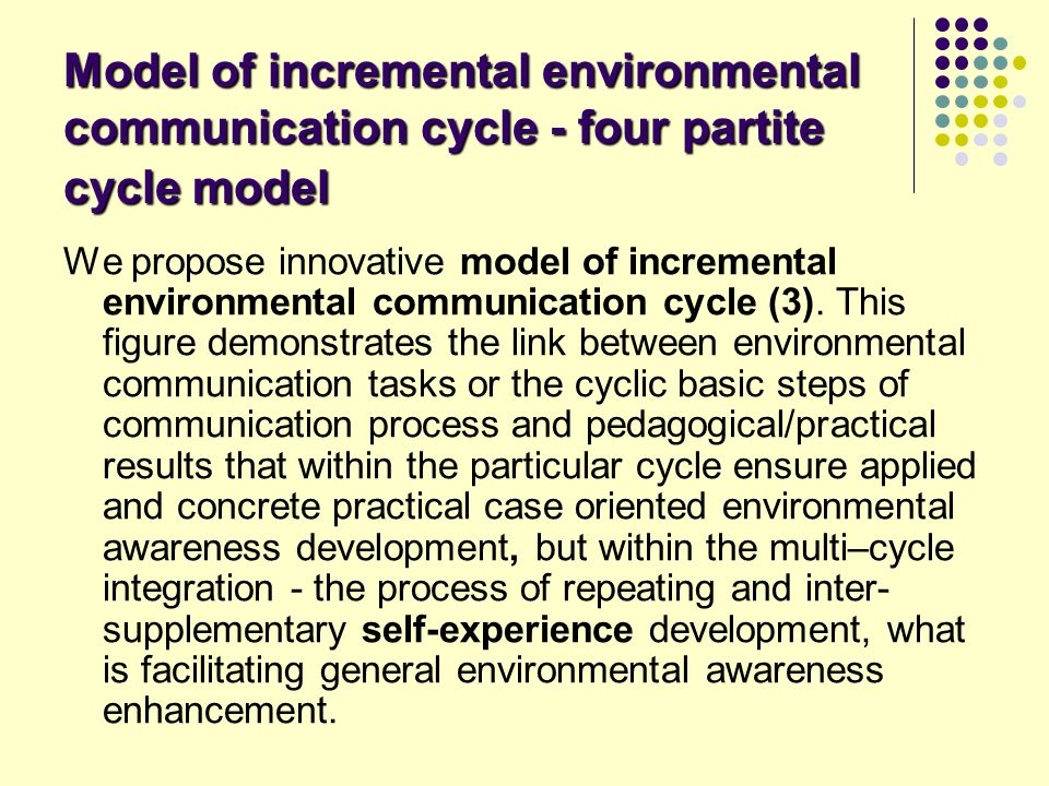 Model of incremental environmental communication cycle - four partite cycle model