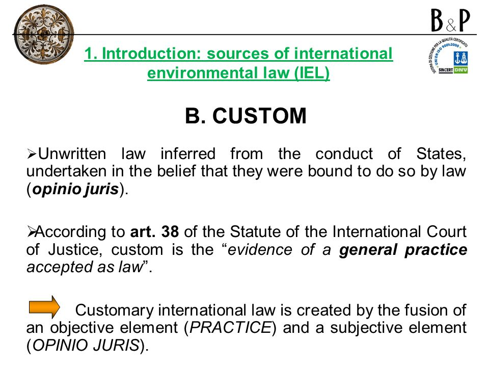1. Introduction: sources of international environmental law (IEL)