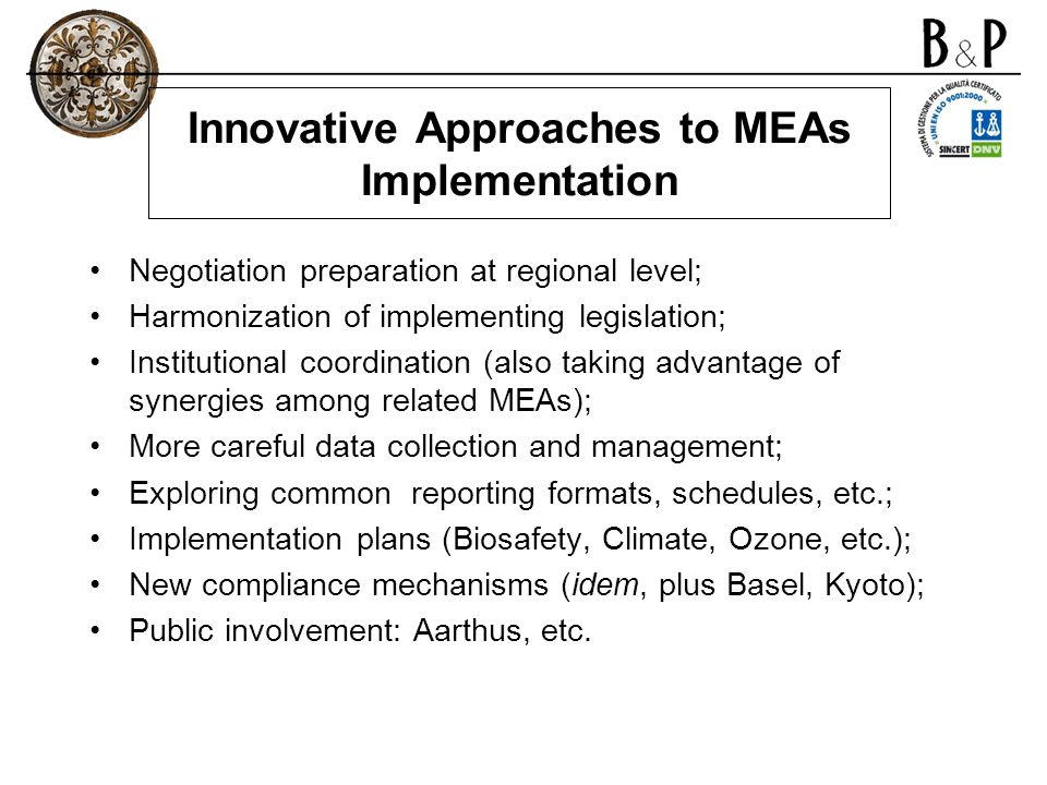 Innovative Approaches to MEAs Implementation
