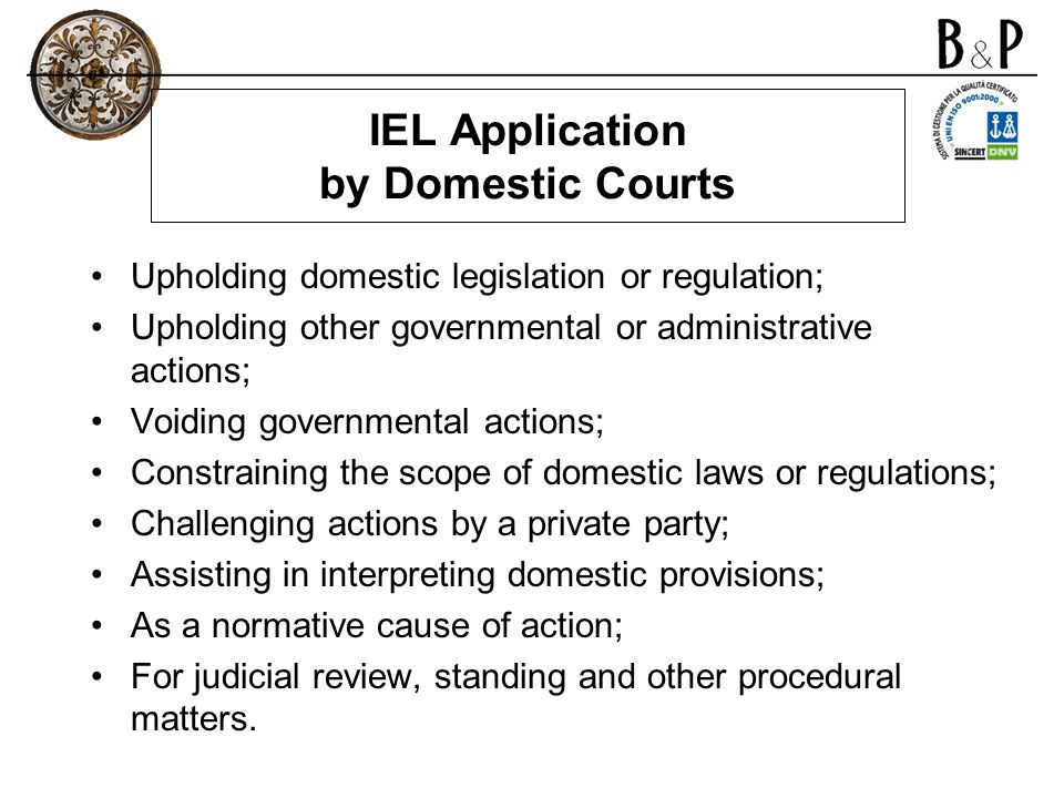 IEL Application by Domestic Courts