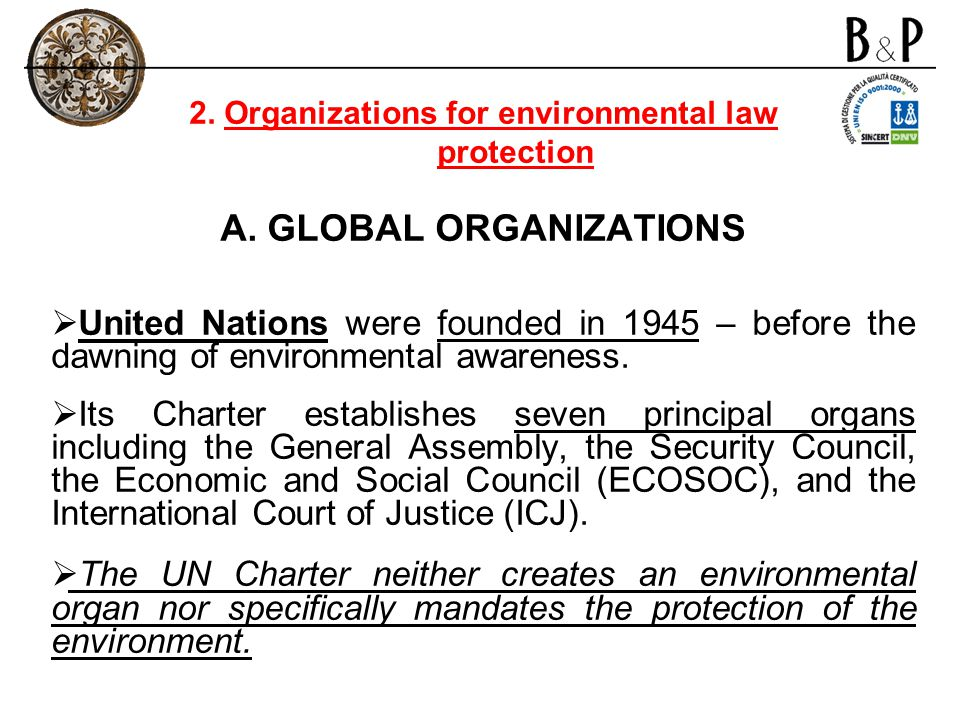 2. Organizations for environmental law protection