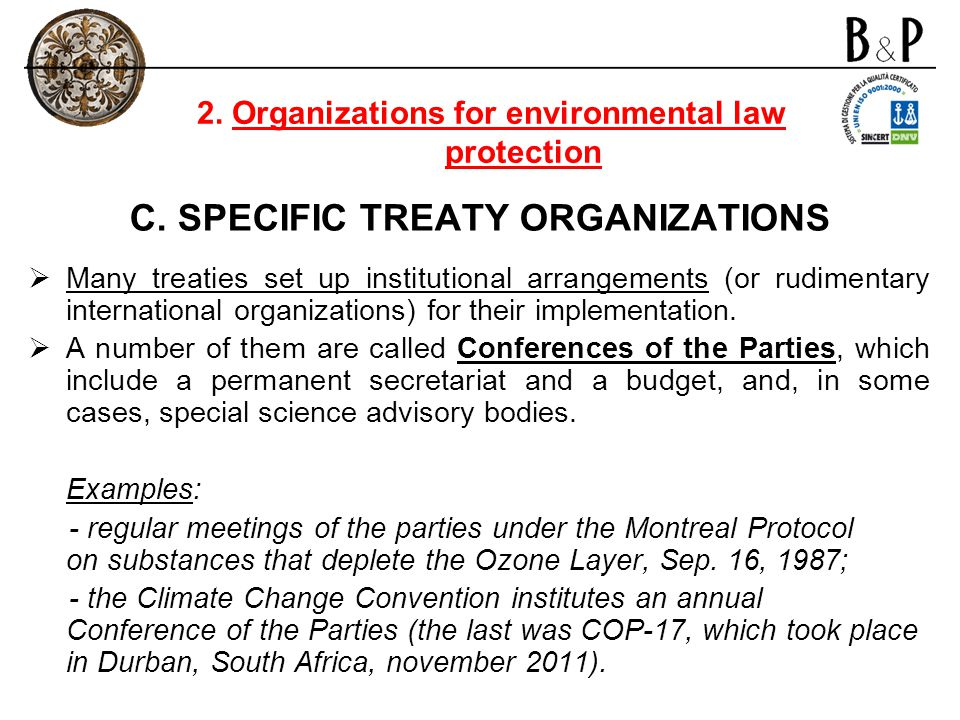 C. SPECIFIC TREATY ORGANIZATIONS