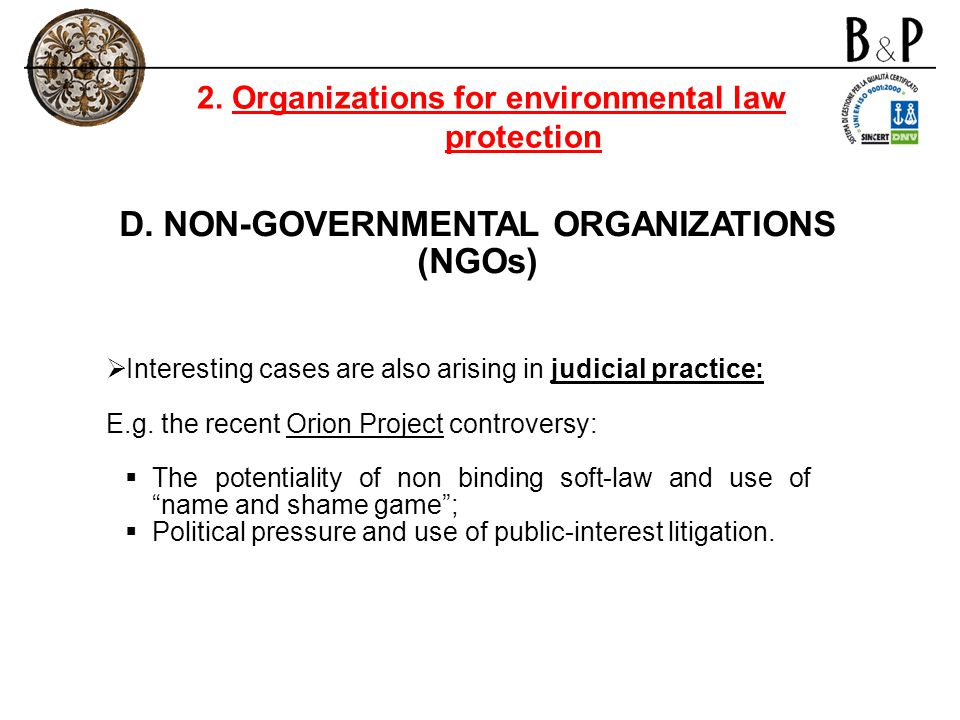 D. NON-GOVERNMENTAL ORGANIZATIONS (NGOs)