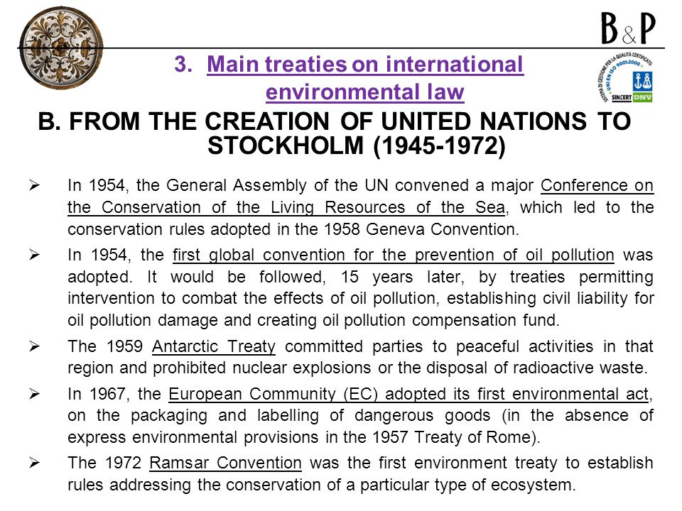 3. Main treaties on international environmental law