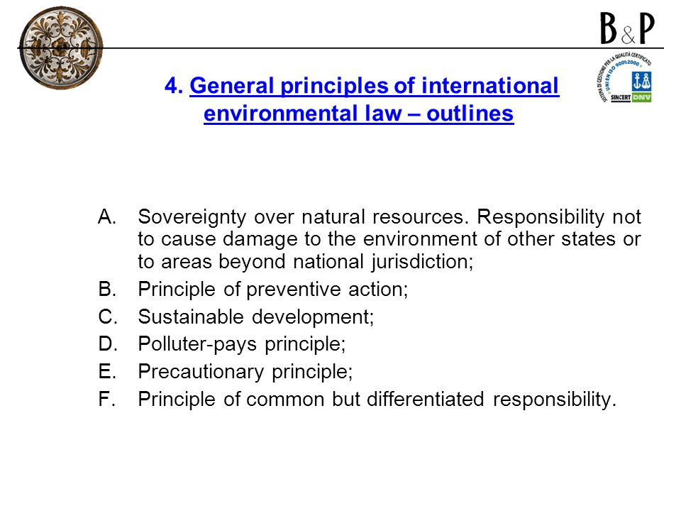 4. General principles of international environmental law – outlines