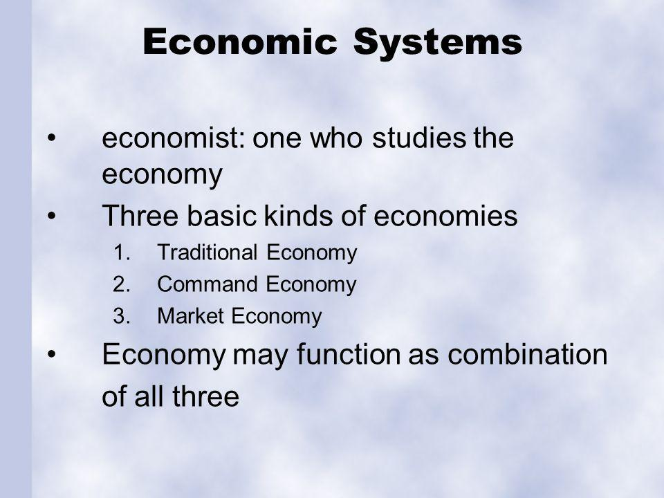 Traditional Economy Customs, habits, & beliefs determine and answer the four basic economic questions.