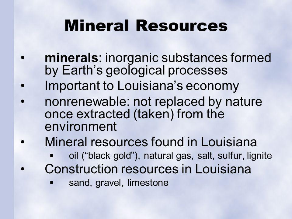 Oil Oil for today's energy created by decayed plants from millions of years ago. 10% of US oil reserves in Louisiana.