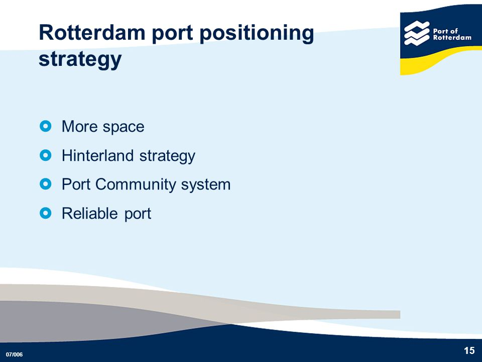Rotterdam port positioning strategy