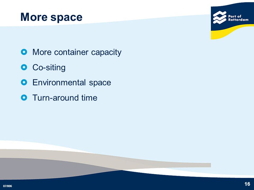 More space More container capacity Co-siting Environmental space