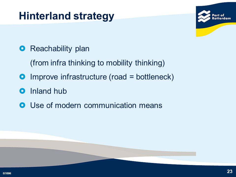 Hinterland strategy Reachability plan