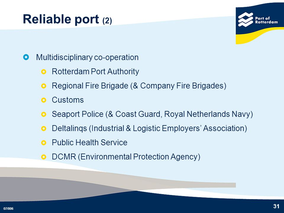 Reliable port (2) Multidisciplinary co-operation