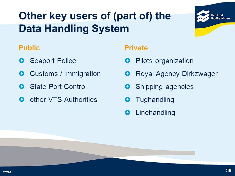 Other key users of (part of) the Data Handling System