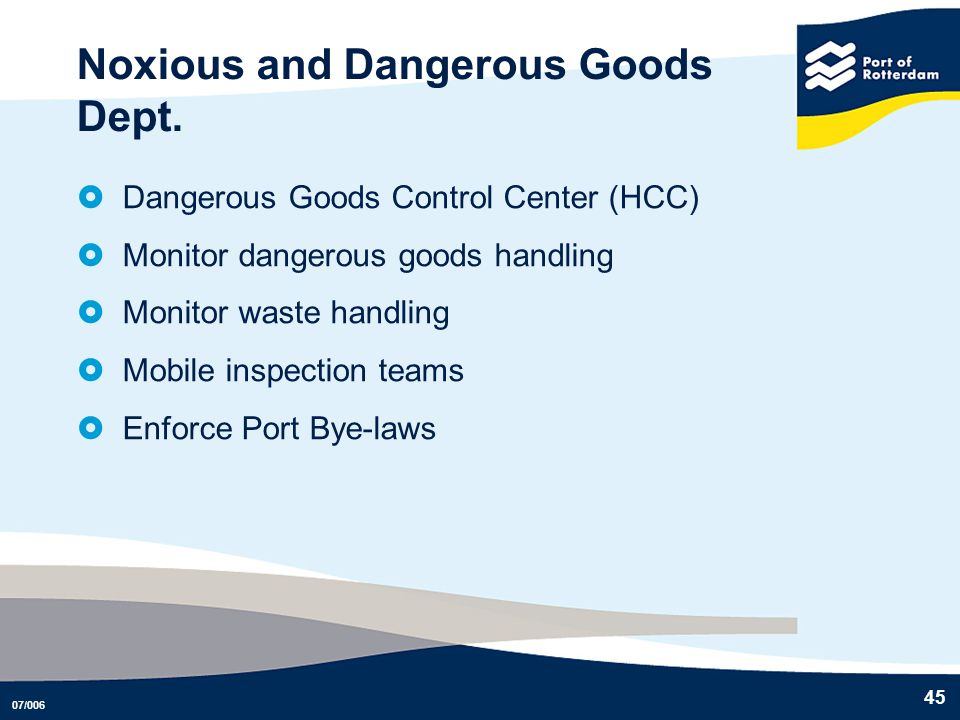 Noxious and Dangerous Goods Dept.