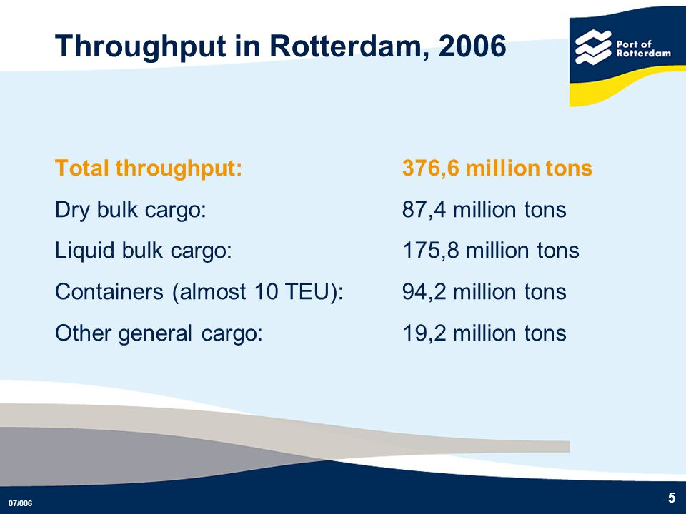 Throughput in Rotterdam, 2006
