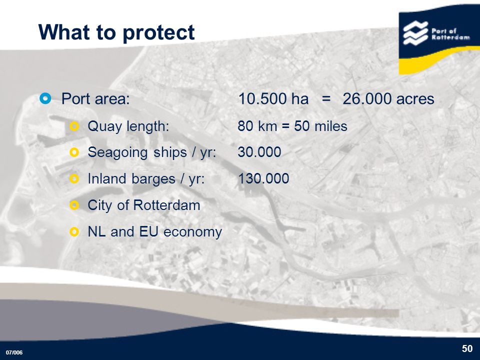 What to protect Port area: 10.500 ha = 26.000 acres