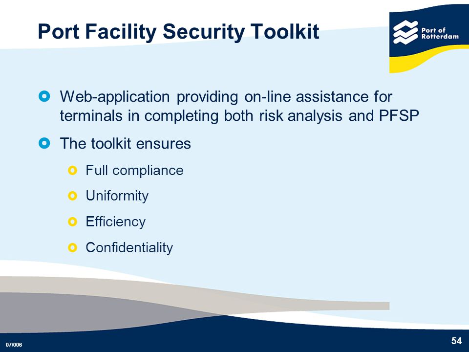 Port Facility Security Toolkit