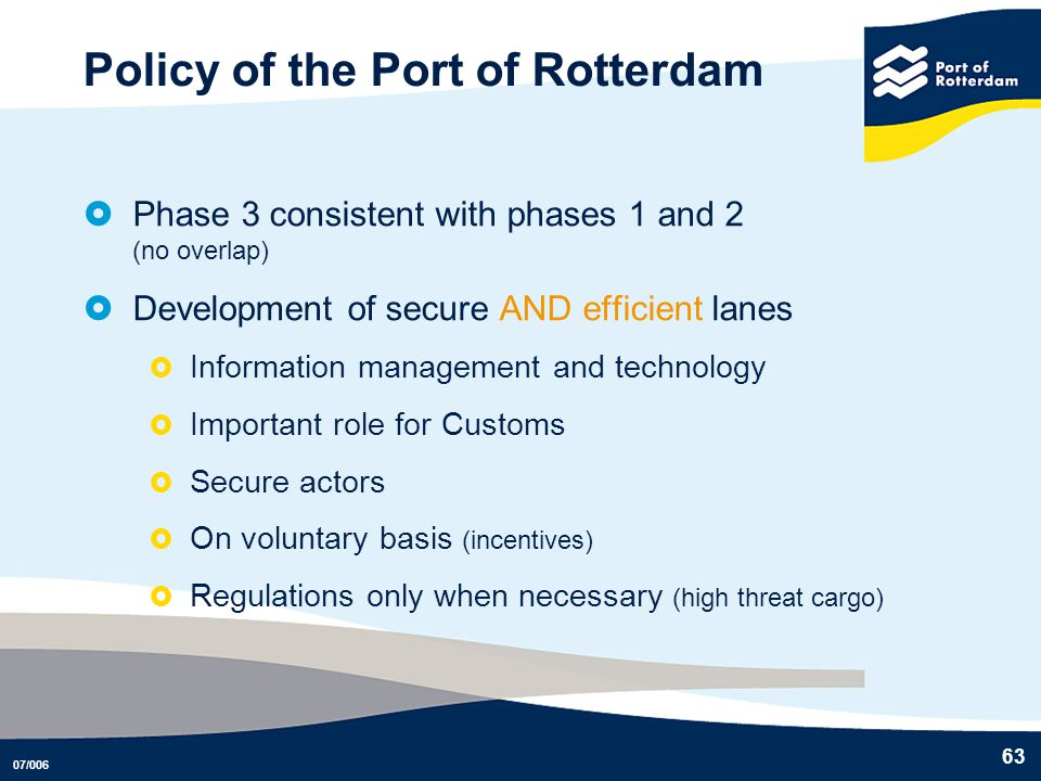 Policy of the Port of Rotterdam