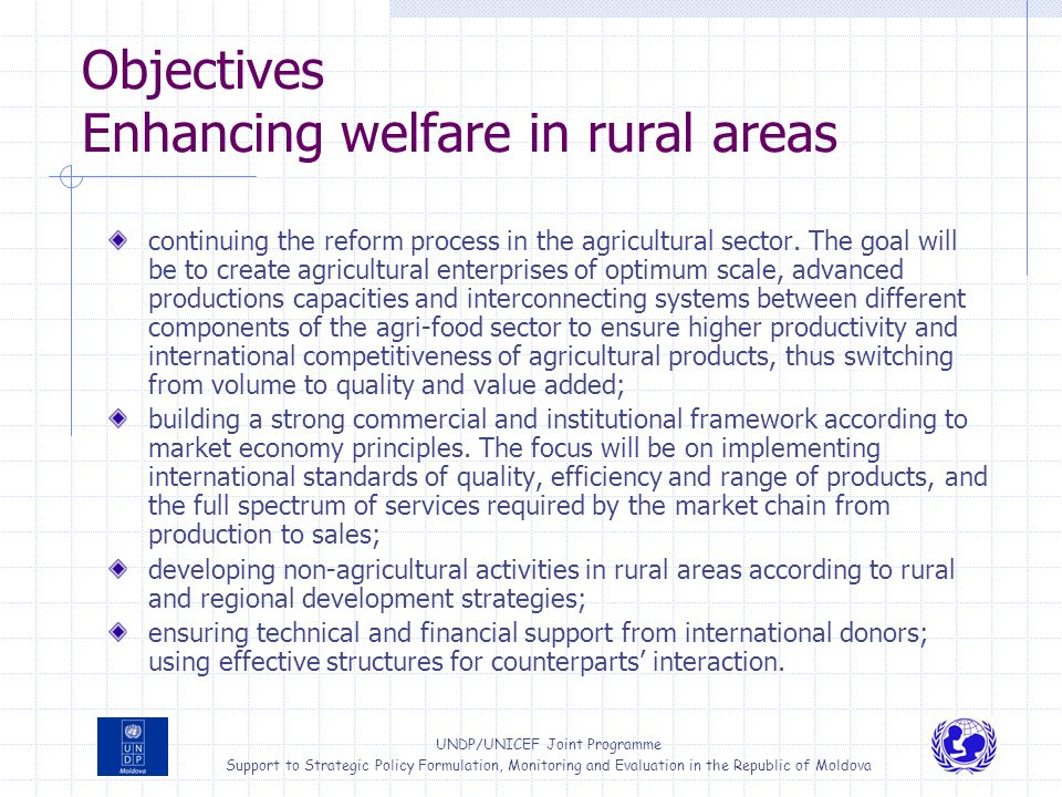 Objectives Enhancing welfare in rural areas