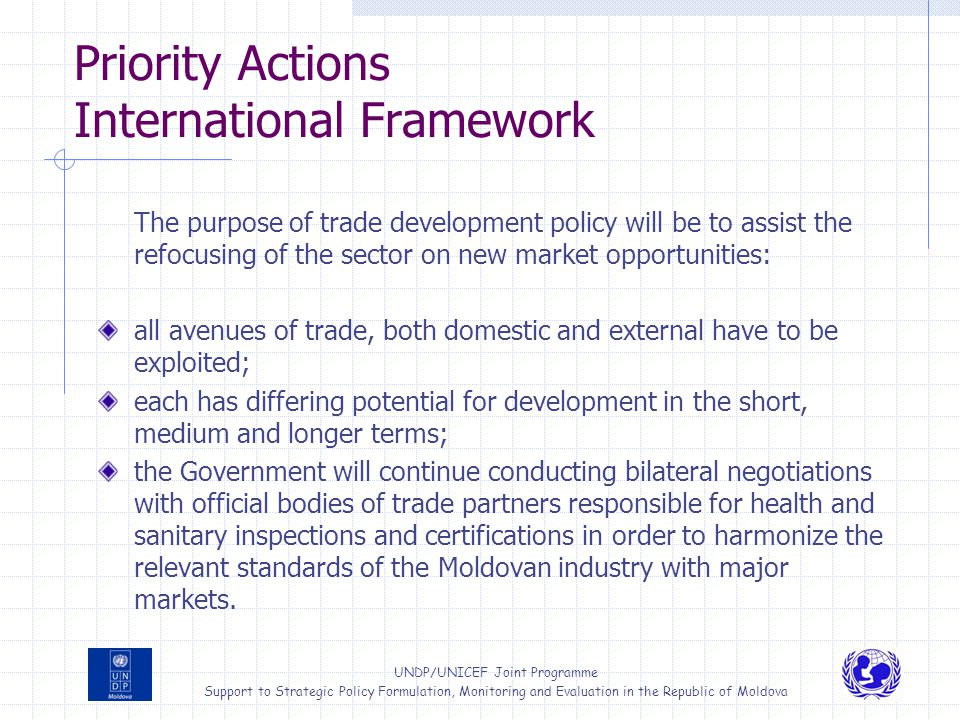 Priority Actions International Framework