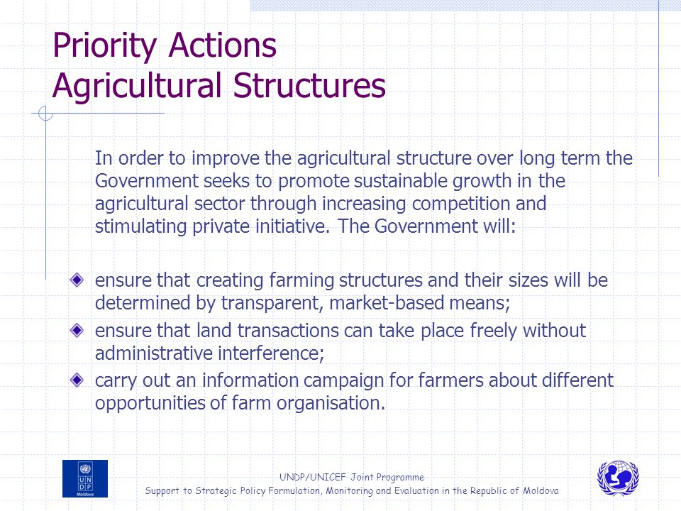 Priority Actions Agricultural Structures