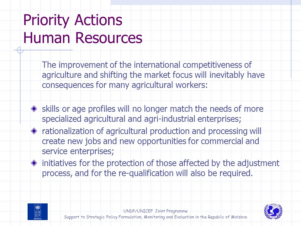 Priority Actions Human Resources