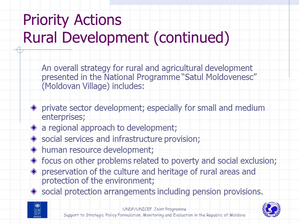 Priority Actions Rural Development (continued)