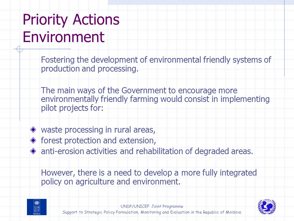 Priority Actions Environment