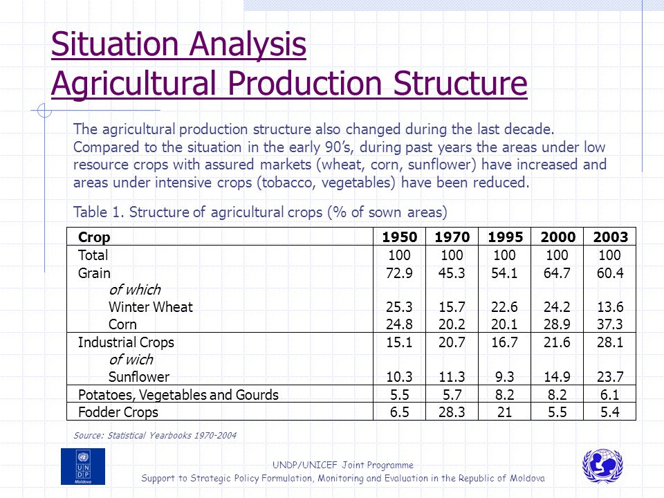 Situation Analysis Agricultural Production Structure
