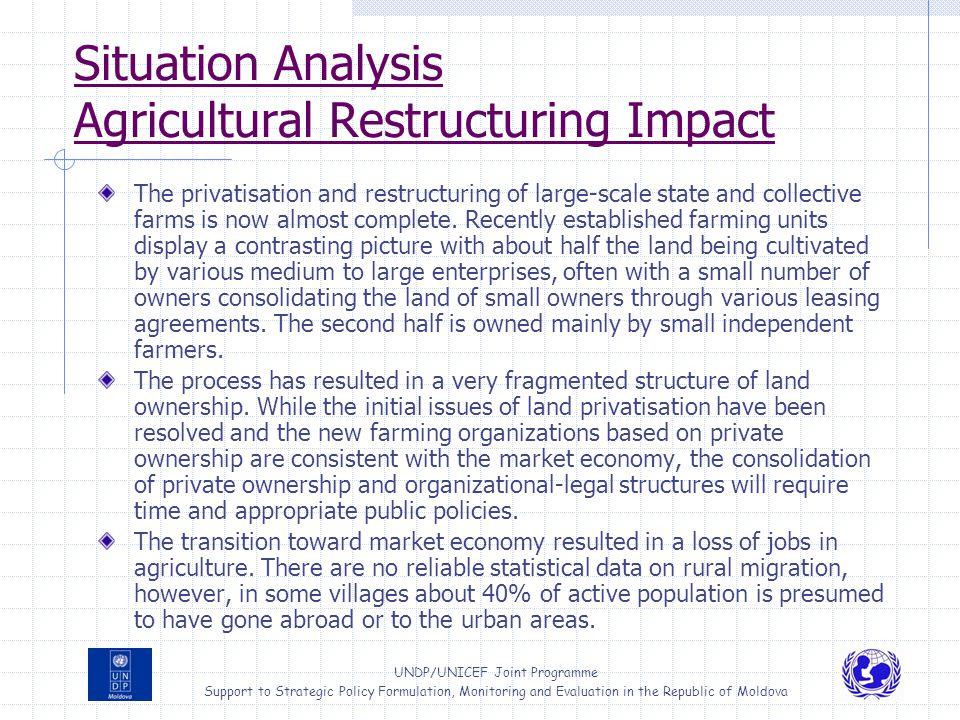 Situation Analysis Agricultural Restructuring Impact