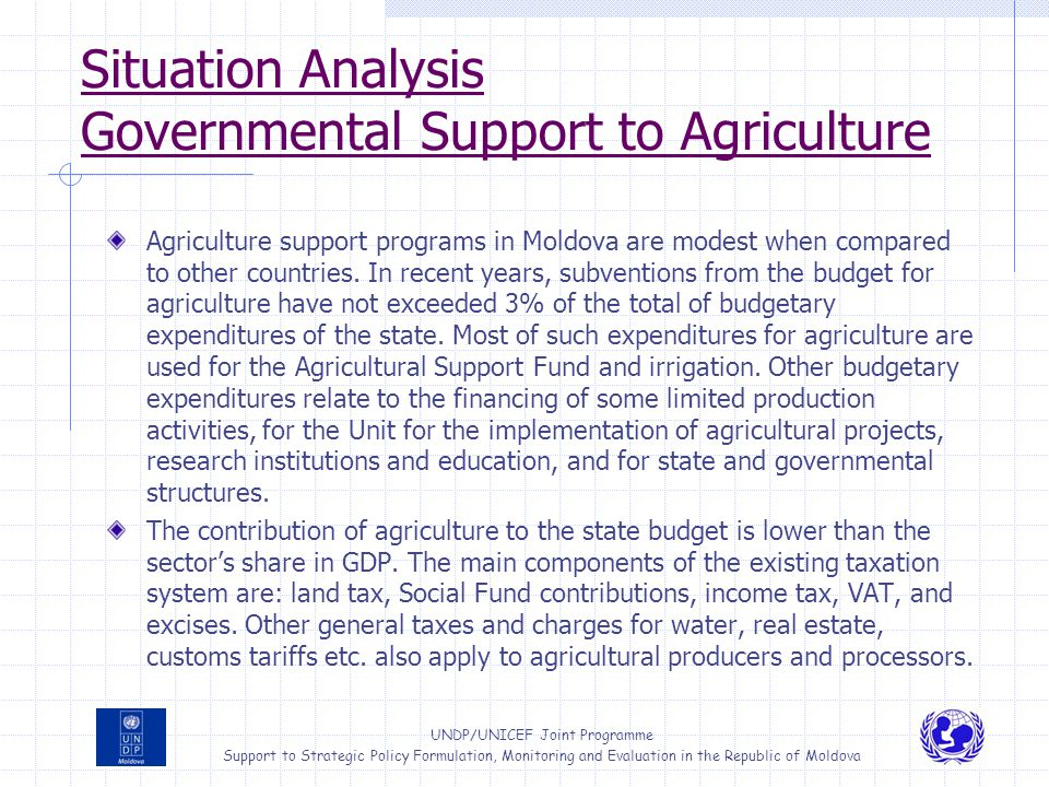 Situation Analysis Governmental Support to Agriculture