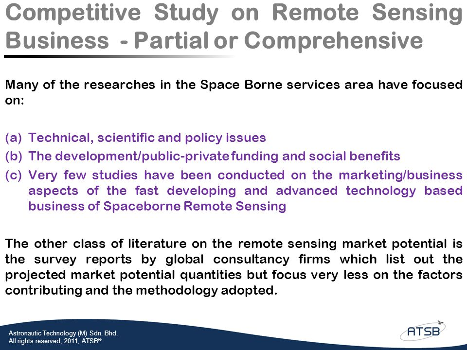 Competitive Study on Remote Sensing Business - Partial or Comprehensive