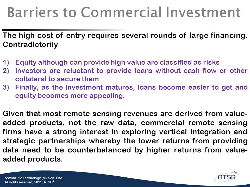 Barriers to Commercial Investment